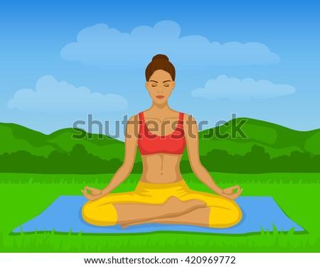 original yoga painting omwoman yoga meditate. Woman Doing Yoga Meditation In Lotus Pose Outside Vector Illustration. Meditating. Original Painting Omwoman Meditate V