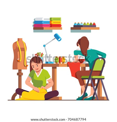 Woman dressmaker stitching sitting on floor, seamstress working with sewing machine. Tailor workshop with desk, chair, mannequin, fabric, tools. Fashion clothes designer. Flat vector illustration.