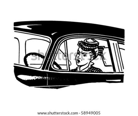 Woman Driver - Retro Clip Art