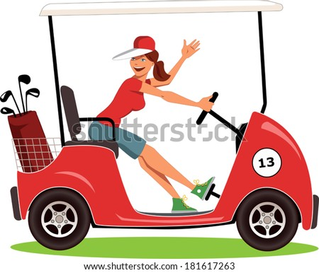 Woman driving a golf cart isolated on white, vector illustration