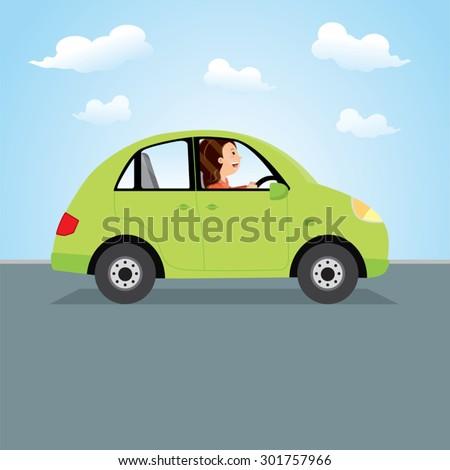 woman driving green car happy