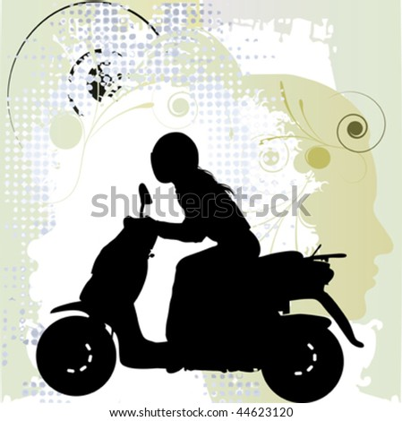 woman driving motorbike, black silhouette