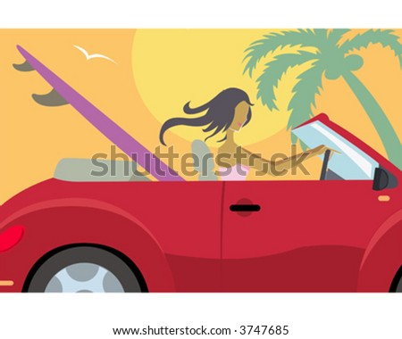 Woman driving to the beach - stock vector