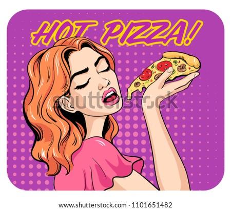 woman eating pizza pop art