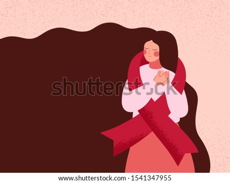Woman embracing themselves with red ribbon for support of AIDS and HIV patients. Girl with Pink ribbon of international breast cancer day worldwide. Vector illustration