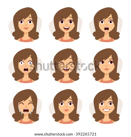 woman emotions expression icons