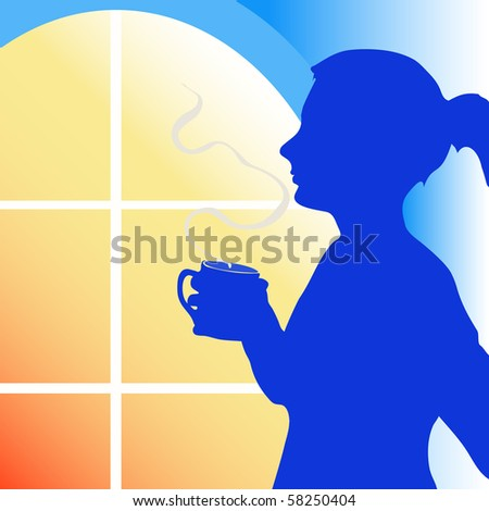 woman enjoy the cofFee in the evening.