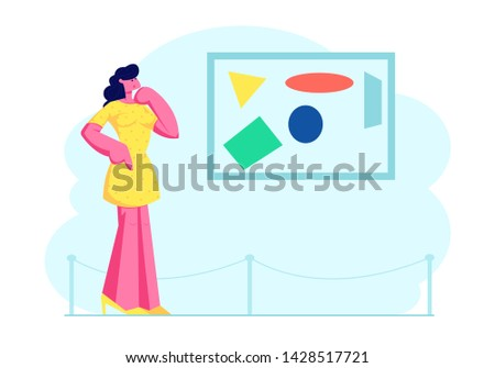 Woman Enjoying Watching Creative Artwork Exhibits in Museum Exhibition, Visitor Viewing Modern Abstract Painting Hanging on Wall at Contemporary Art Gallery, Leisure. Cartoon Flat Vector Illustration