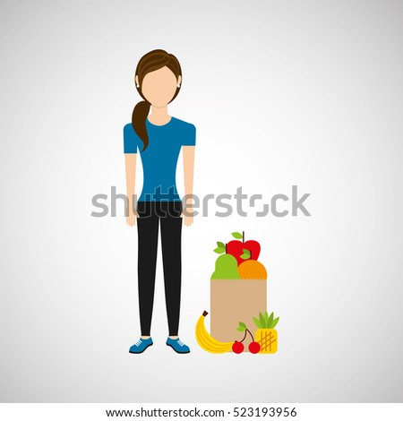 woman exercising healthy food