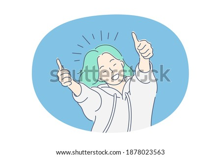 Woman expressing positive emotions concept. Young smiling woman cartoon character feeling happy and showing thumbs up good signs with fingers, showing positive attitude and smiling vector illustration Foto d'archivio ©