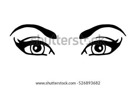 woman eyes and eyebrows close