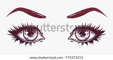 Woman eyes and eyebrows with full lashes. Isolated vector illustration. T-shirt print, poster and cards.