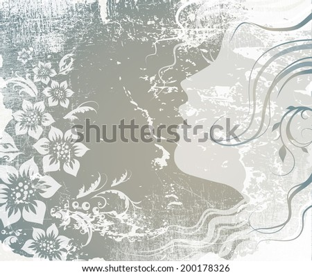 woman face and grunge vector