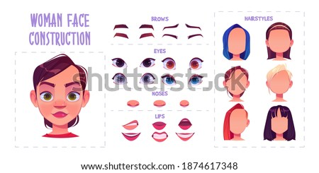 Woman face construction, avatar creation with different head parts isolated on white background. Vector cartoon set of female character eyes, noses, brows and lips. Skin pack for face generator