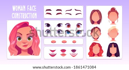 Woman face constructor, avatar of caucasian female character creation heads, hairstyle, nose, eyes with eyebrows and lips. Facial construction elements isolated on white background, cartoon vector set