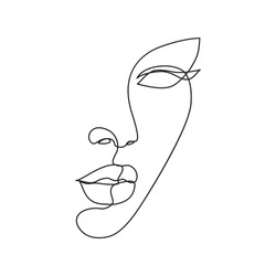 Woman face continuous line drawing. Abstract minimal woman portrait. Logo, icon, label.
