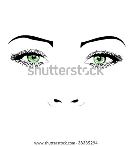 woman face green eyes vector