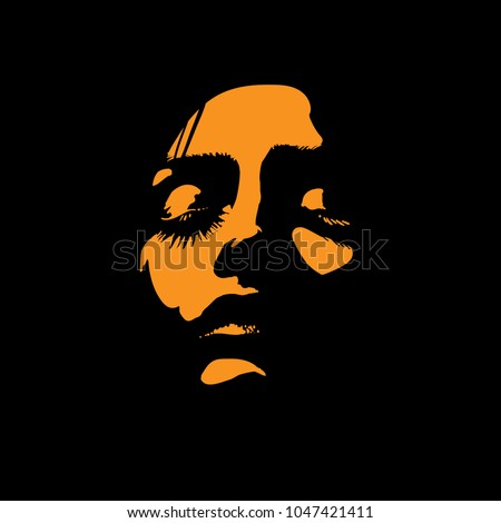 woman face in contrast light