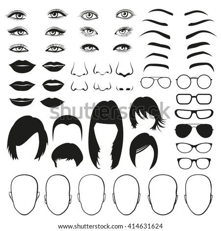 woman face parts  eye  glasses