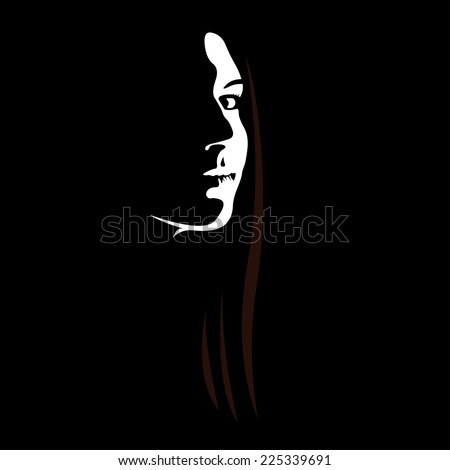 woman face profile in low key