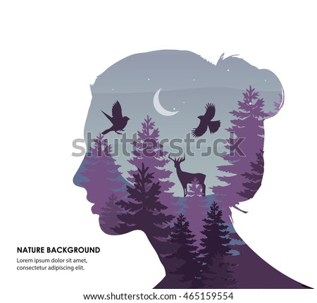 woman face silhouette forest