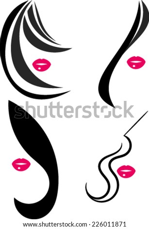 woman face symbol pink lips