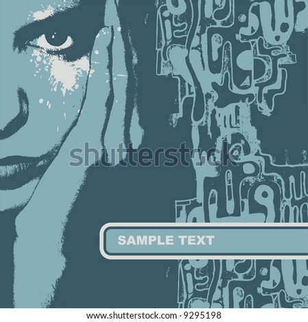 Woman face, vector illustration. CD cover.