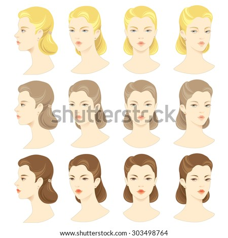 woman face vector set of