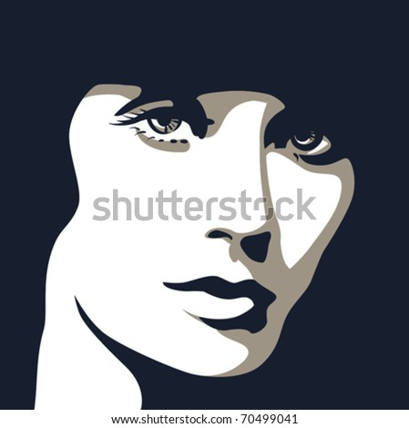 woman face with beautiful eyes