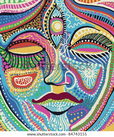 woman face with bright multicolored pattern vector - stock vector