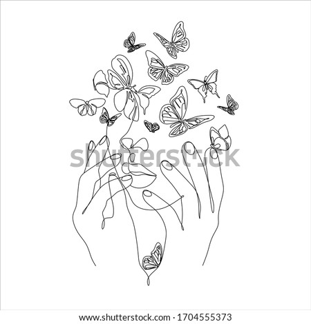 Woman face with butterfly. Line art female hands with butterflies. Abstract face with butterfly by one line drawing. Portrait minimalistic style. Botanical print. Nature symbol of cosmetics.