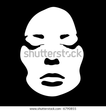 Woman face with closed eyes, vector illustration. Easy to change colors.