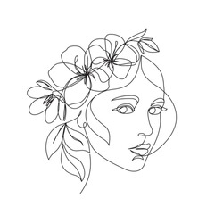 Woman face with flowers one line drawing. Continuous line drawing art. Flower bouquet in woman head single line art. Vector line illustration. Nature cosmetics. Minimalist Black White Drawing Artwork