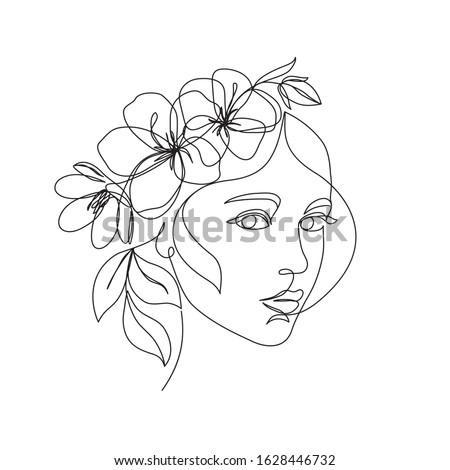 Woman face with flowers one line drawing. Continuous line drawing art. Flower bouquet in woman head single line art. Vector line illustration. Nature cosmetics. Minimalist Black White Drawing Artwork  Сток-фото ©