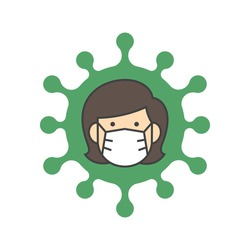 Woman face with flu mask icon symbol, Concept for flu sickness and wearing medical mask to prevent the spread of virus germs, Isolated on white background, Vector illustration