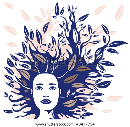 Woman Face with Hair made of Leaves in Blue and Beige