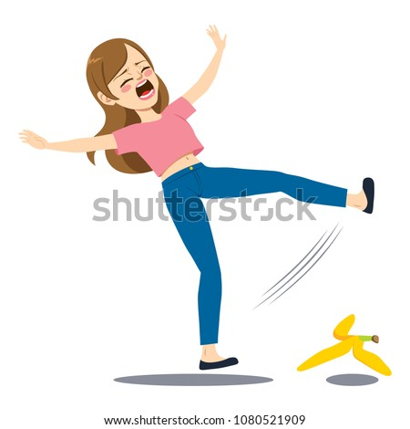 Woman falling down on the floor slipping on banana peel