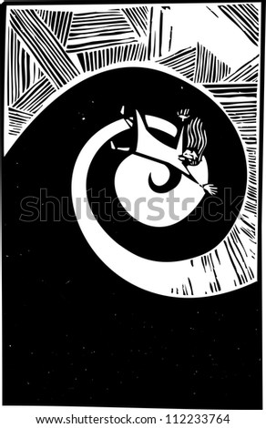 Woman falling into a spiral in woodcut style.