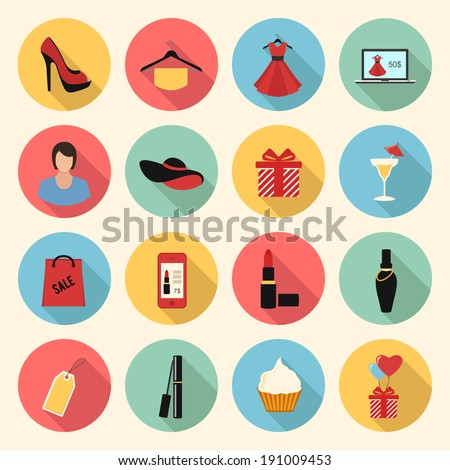 woman fashion and beauty vector colorful flat style icons set clothing gifts make up shopping