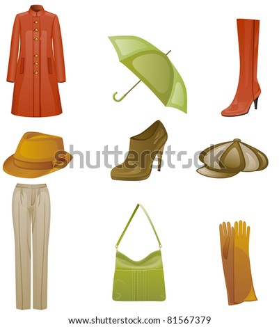Woman fashion autumn icon set. Isolated on white background.