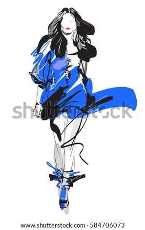 Woman fashion model, hand drawn vector sketch