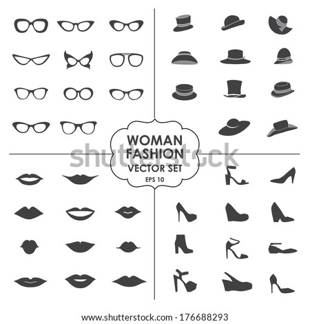 Woman Fashion Set vector icons glasses hats shoes lips Collection of icons can be used in web design mobile applications photobooth eps 10