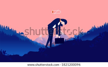 Woman fatigue - Female person walking and fighting her way up hill with low energy, feeling empty, exhausted and tired. Lack of motivation concept. Vector illustration.