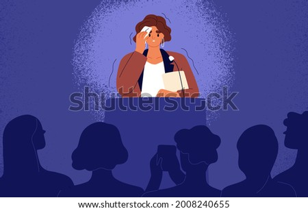 Woman feeling fear and anxiety before stage speech. Nervous shy speaker with fright of audience. Lecturer sweating at public speaking. Glossophobia concept. Flat vector illustration of anxious person Stock photo ©