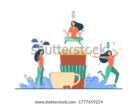 Woman feeling stress and getting energy from coffee. Caffeine addicted person charging battery. Vector illustration for energetic drink, energizer, morning, coffee shop concept Foto stock ©
