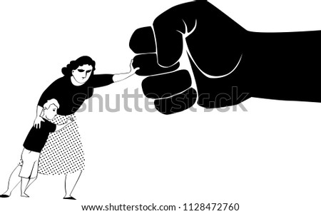 Woman fighting back a giant fist, protecting her child from abuse and domestic violence, EPS 8 black vector silhouette, no white objects