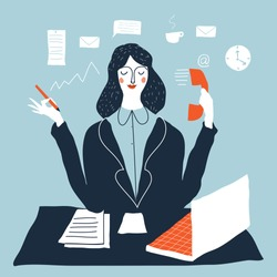 Woman financial accountant. Secretary assistant vector illustration. Young businesswoman multitasking. Creative modern vector illustration.