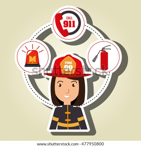 woman firefighter extinguisher