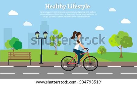 woman fitness a bike set vector