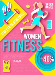 Woman Fitness Poster Template. Sport Motivation. Paper 3D Art. Workout girl. Sports and Health Care Flyer. Gym Design. Vector illustration